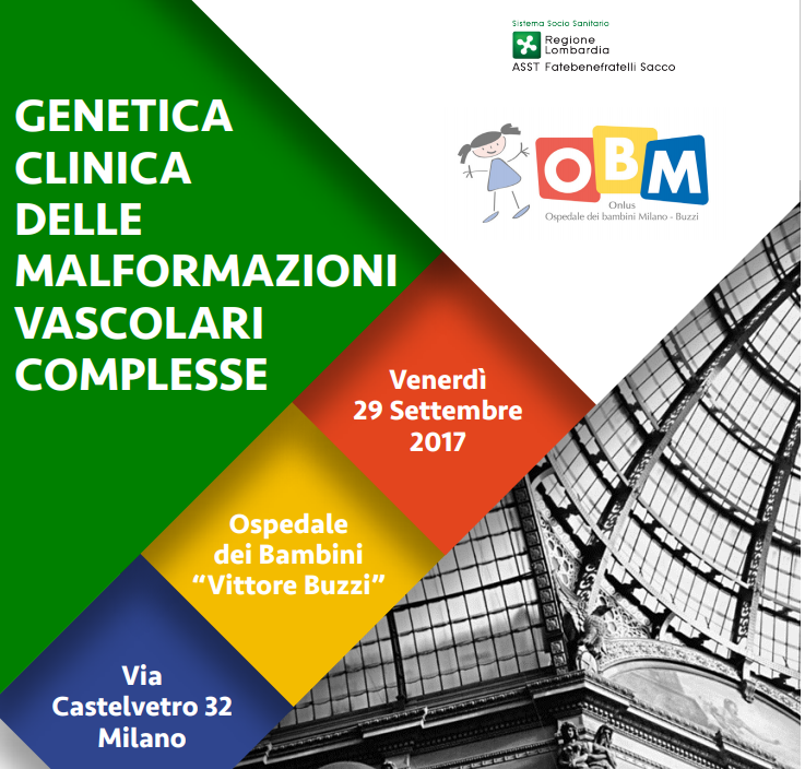 """Congresso """"Genetica Clinica delle Malformazioni Vascolari Complesse"""" Milano 29 Settembre 2017 - LOCANDINA cut"""